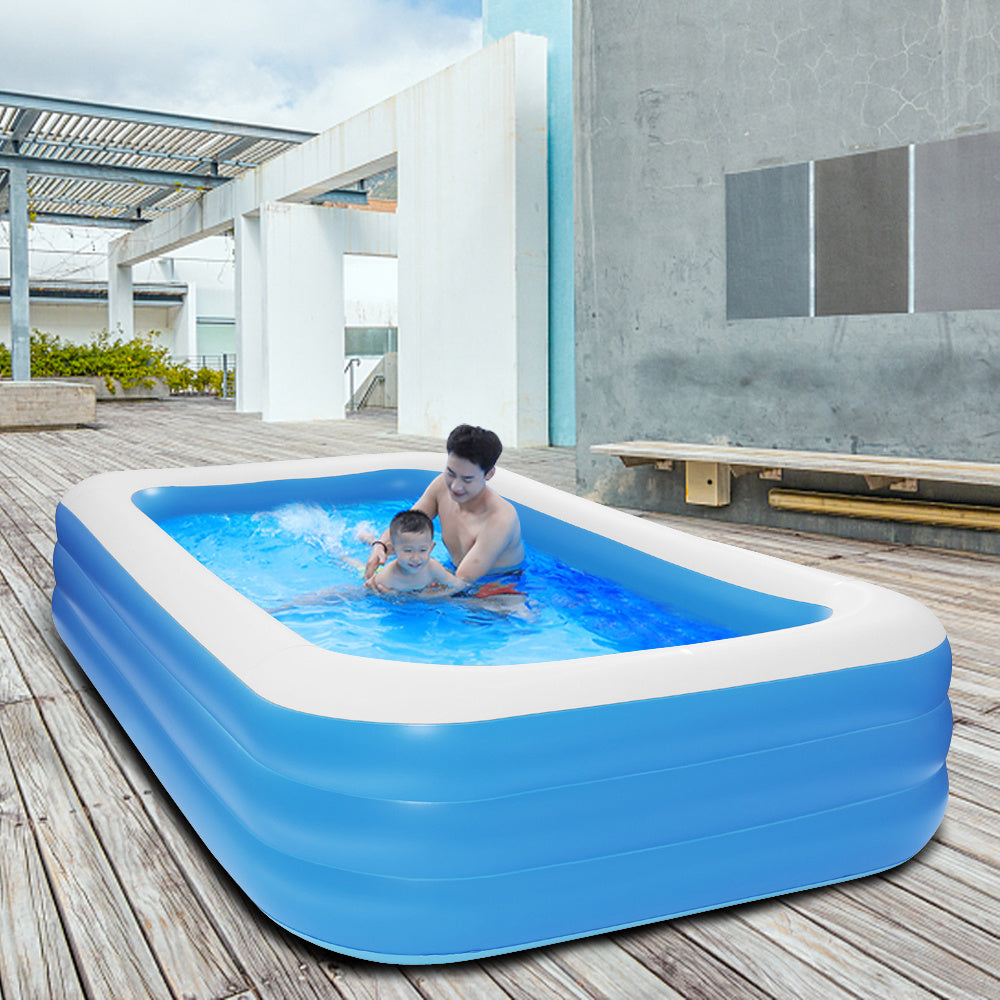 Free shipping 120*72*22in blue PVC cuboid with wall thickness of 0.3mm for inflatable swimming pool  Full-Sized Family Kiddie Blow up Pool for Kids, Adults, Baby, Children, Thick Wear-Resistant Big YJ
