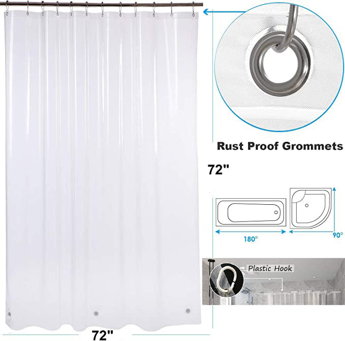 Shower Curtain Liner - Water Repellent Liner with Rust Proof Grommets for Bathroom ShowerShower Curtain Liner - Water Repellent Liner with Rust Proof Grommets for Bathroom Shower RT