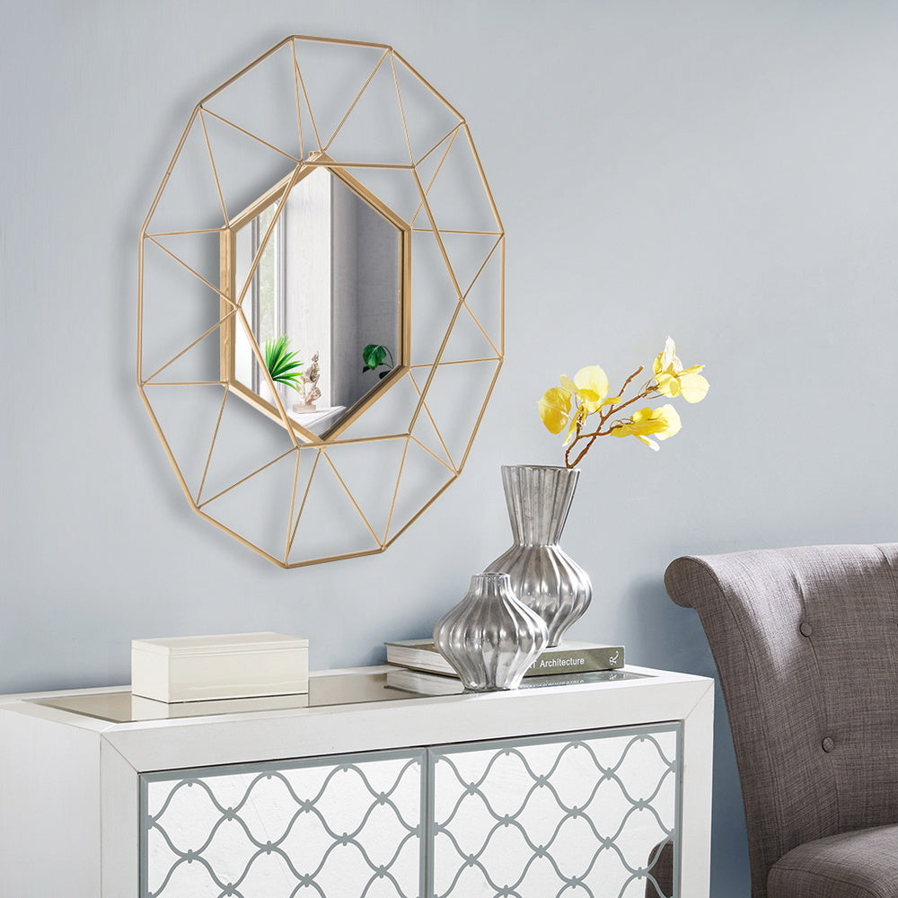Free shipping Iron Wall Mirror Radial Triangle Round Mirror Iron Wall Mirror Decorative Mirror 25.5inch  Golden  YJ