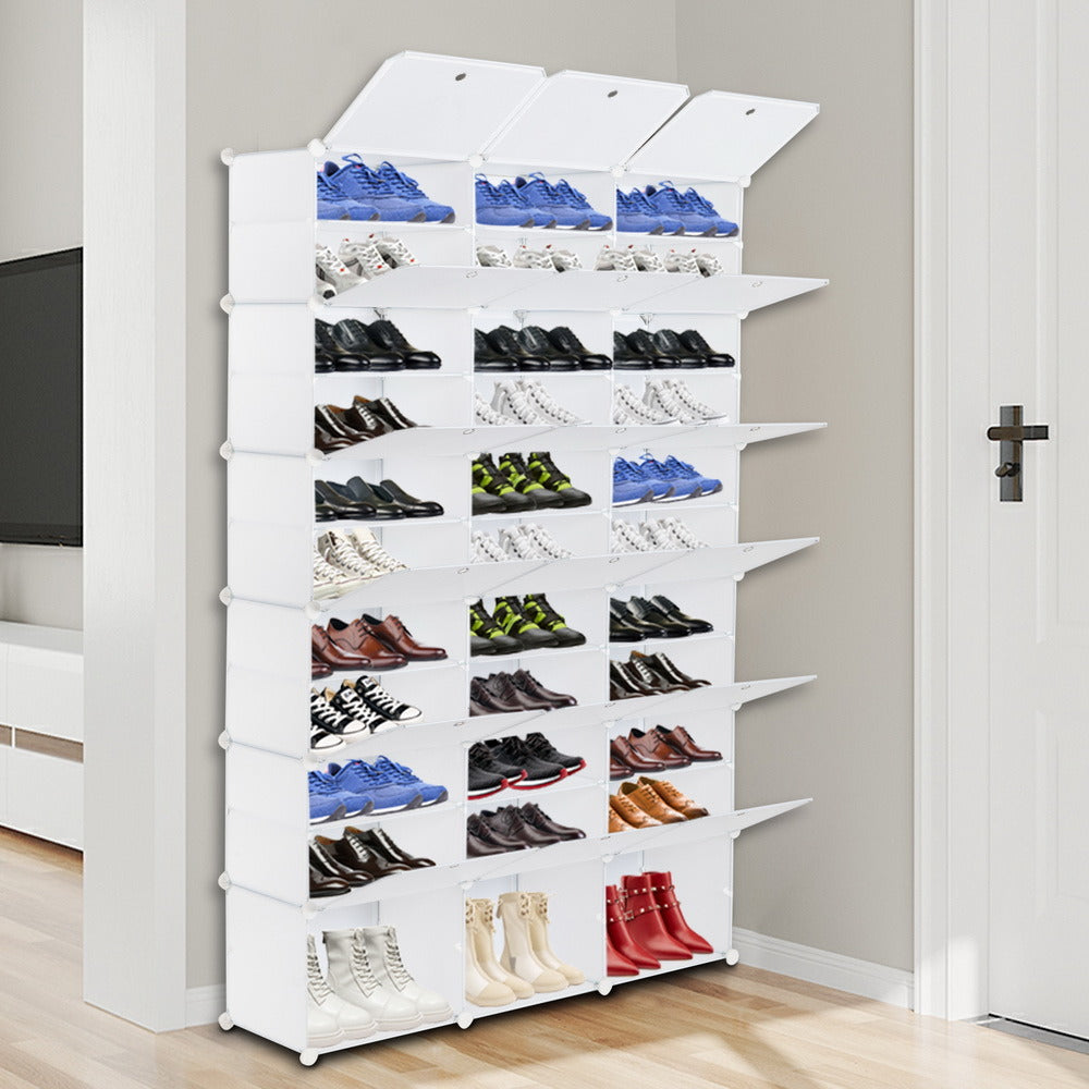 12-Tier Portable 72 Pair Shoe Rack Organizer 36 Grids Tower Shelf Storage Cabinet Stand Expandable for Heels, Boots, Slippers, White RT