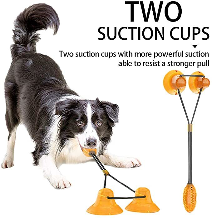 Two Suction Cup Tug Dog Toy, Dog Self-Playing Tug of War Pet Molar Bite Toy with Suction pup tug Toy, Chew Ball Dog Rope Toy for Biting and Food Dispensing