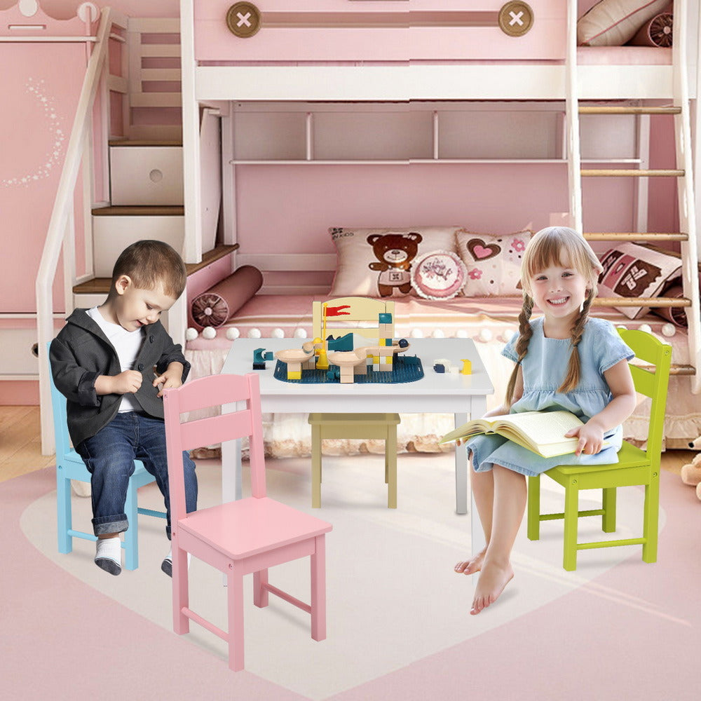 Kids Wooden Table and 4 Chair Set, 5 Pieces Set Includes 4 Chairs and 1 Activity Table, Toddler Table for 3-7 Years, Playroom Furniture, Picnic Table w/Chairs, Dining Table Set XH
