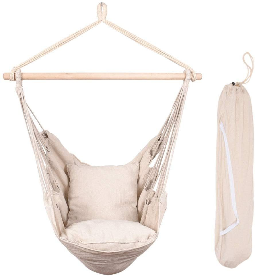 Hammock Chair Distinctive Cotton Canvas Hanging Rope Chair with Pillows