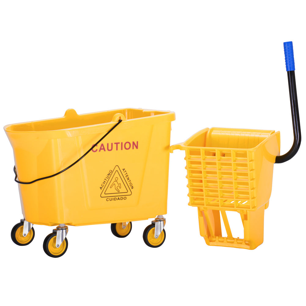 Wavebrake Mopping System Bucket and Side-Press Wringer Combo, 36L 34Quart 9.5Gallon Yellow RT