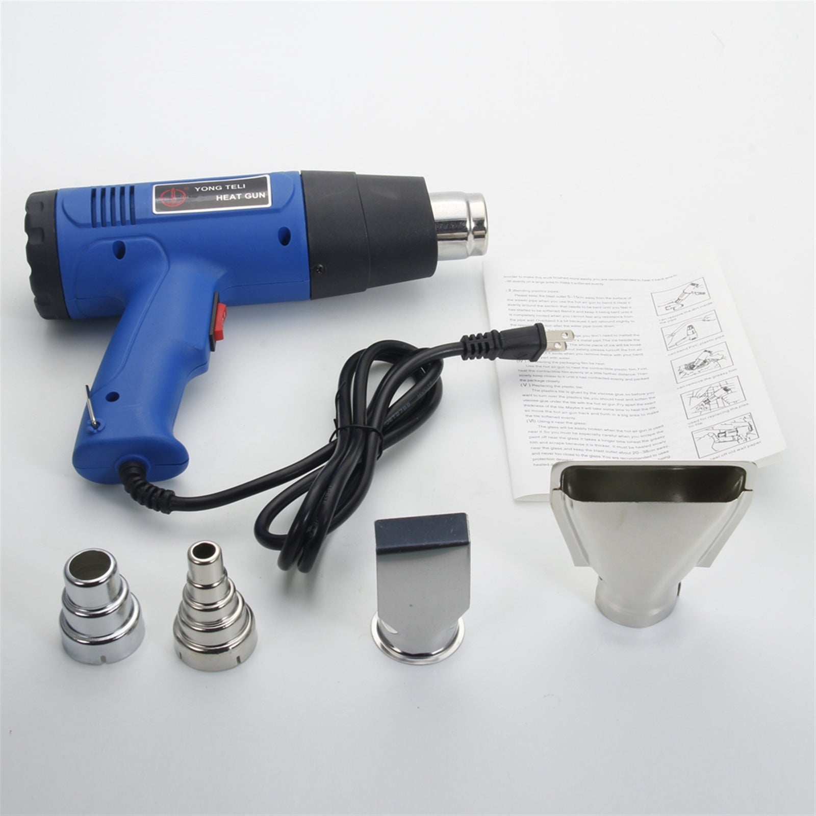 Free shipping 1500W 110V Dual-Temperature Heat Gun with 4pcs Concentrator Tips Blue  YJ