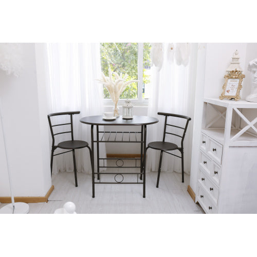 3 Pieces Kitchen Table Set, Couple Dining Round Table Set with Metal Frame and Shelf Storage, Home Breakfast Table, 3 Piece Kitchen Table Set