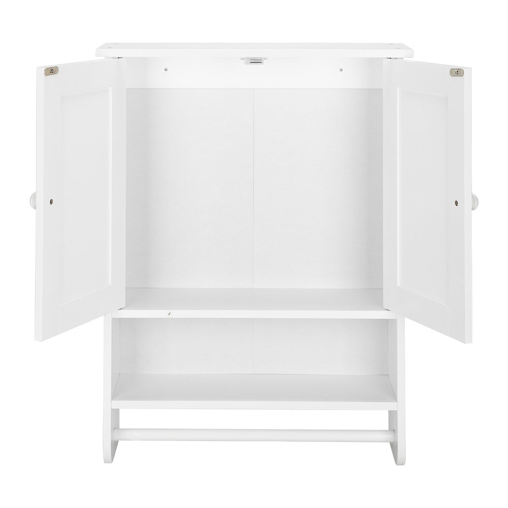 Free shipping Washing table, hanging cabinet, locker, double door with shelf, white with towel bar YJ