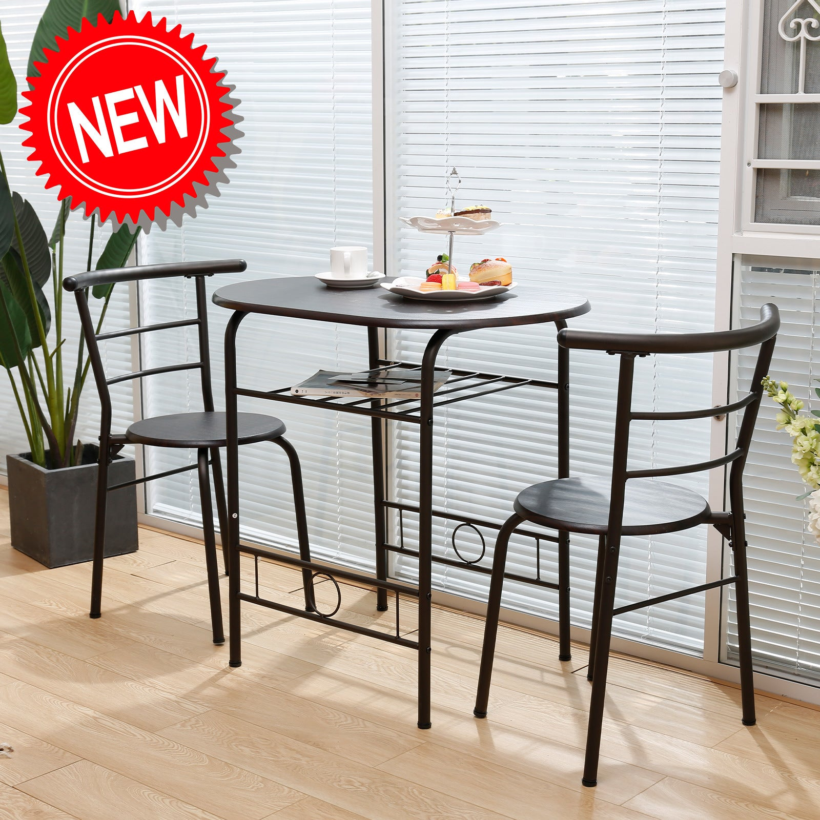 3 Pieces Kitchen Table Set, Couple Dining Round Table Set with Metal Frame and Shelf Storage, Home Breakfast Table, 3 Piece Kitchen Table Set RT