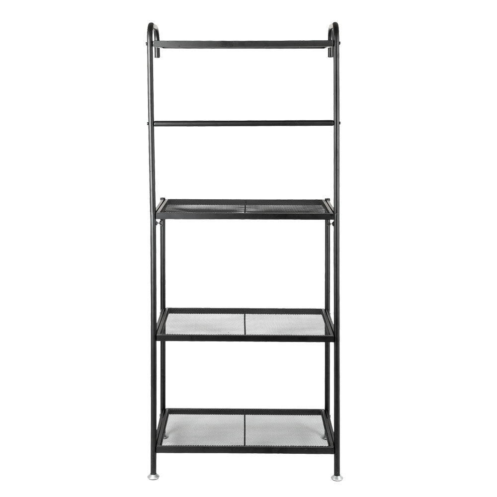 Kitchen Shelf,4-Tier Metal Baker's Rack Organizer Stand Shelf Kitchen Microwave Cart Storage Countertop Dorm Microwave Stand Kitchen Storage Shelving for Kitchen,Black RT