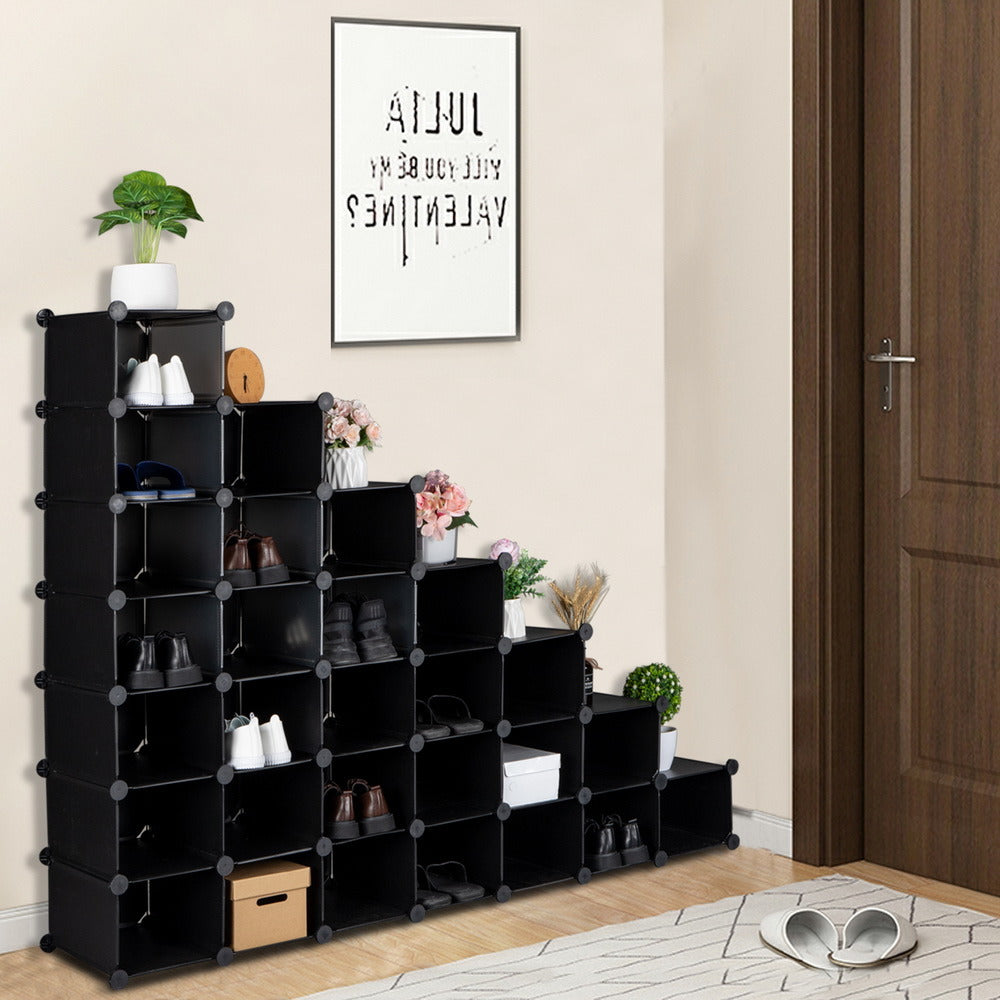 7-Tier Shoe Rack, Space Saving 28-Pair Plastic Shoe Units, Cabinet Storage Organizer, Ideal for Entryway Hallway Bathroom Living Room and Corridor  XH