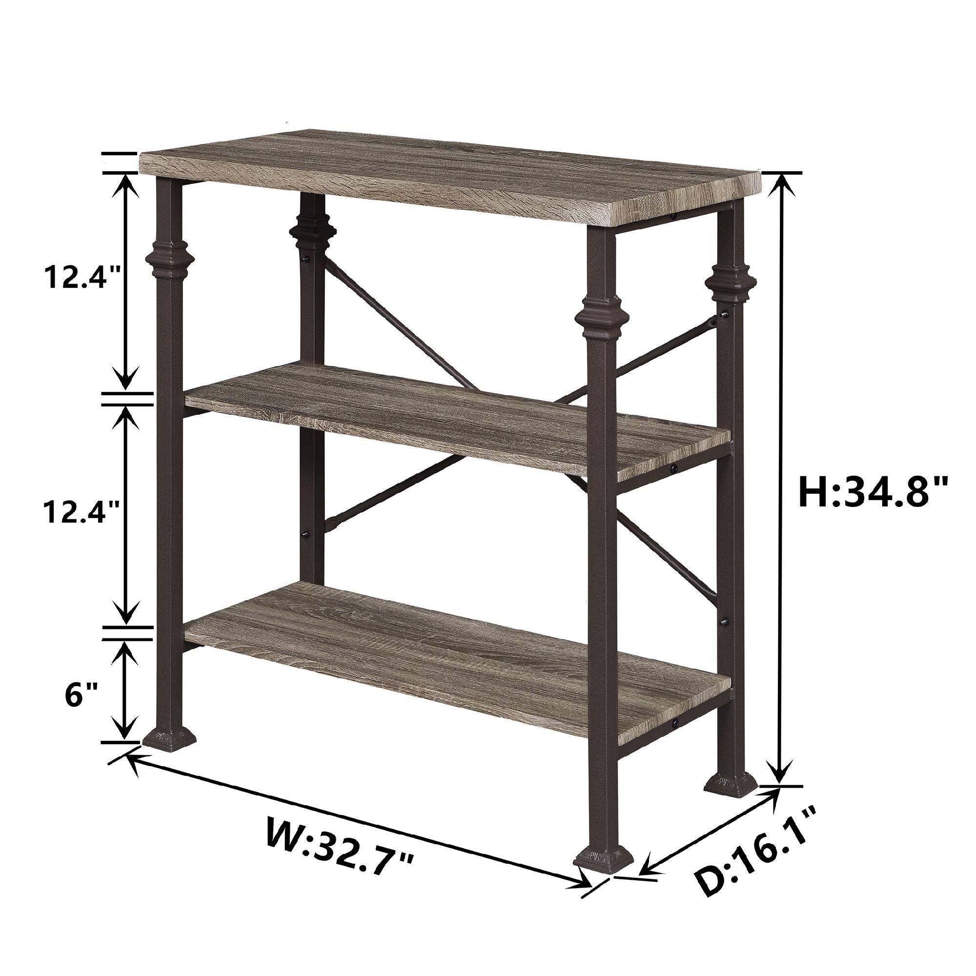 Free shipping 3-Tier Bookshelf, Rustic Industrial Style Bookcase Furniture, Free Standing Storage Shelves for Living Room Bedroom and Kitchen, Grey Oak