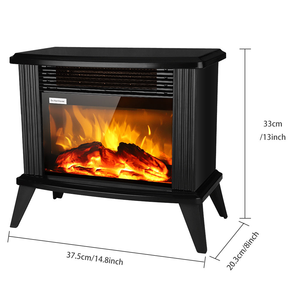 1500w Electric Fireplace Stove, Freestanding Stove Heater with Realistic Flame Overheating Safety Protection for Small Spaces Portable Fake Firewood Infrared Heater XH