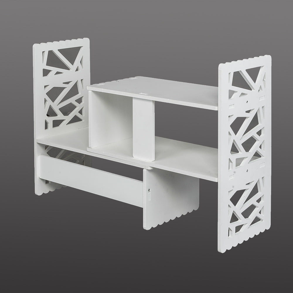 Free shipping Expandable Openwork Desktop Bookshelf Organizer Shelving Unit White Matte Finish YJ