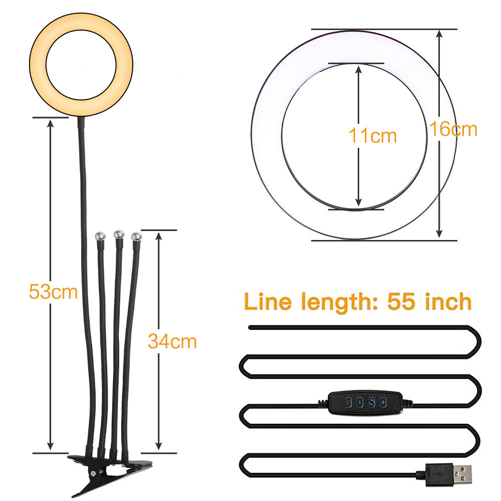 "6"" 4 in 1 Selfie Ring Light with Tripod Stand  for Live Stream Makeup,Mini Led Camera Ring Light Table Lamp Fill Light for YouTube Video Photography Shooting Vlog USB Plug YF"