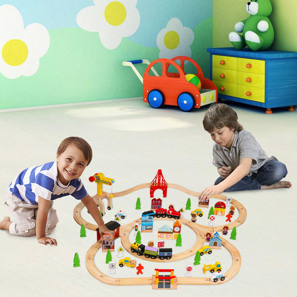 100pcs Wooden Train Set Learning Toy Kids Children Rail Lifter Fun Road Crossing Track Railway Play Multicolor YF