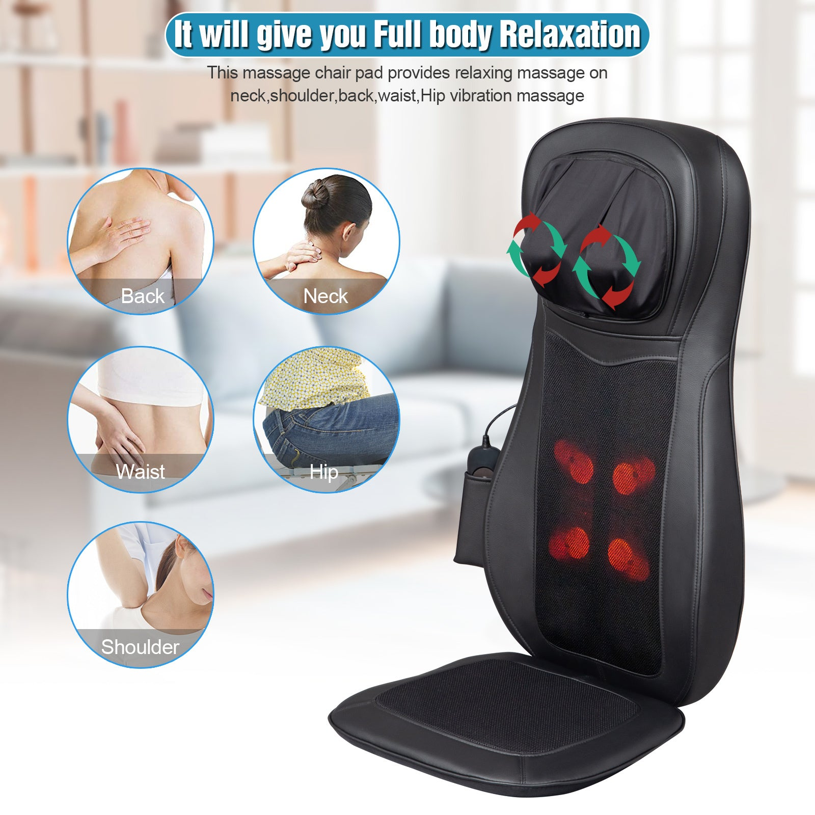 Zokop Shiatsu Neck & Back Massager with Heat, Full Back Kneading Shiatsu or Rolling Massage with Height Adjustment, Three-stage Vibration Massage for Buttocks ,Massage Chair Pad YF