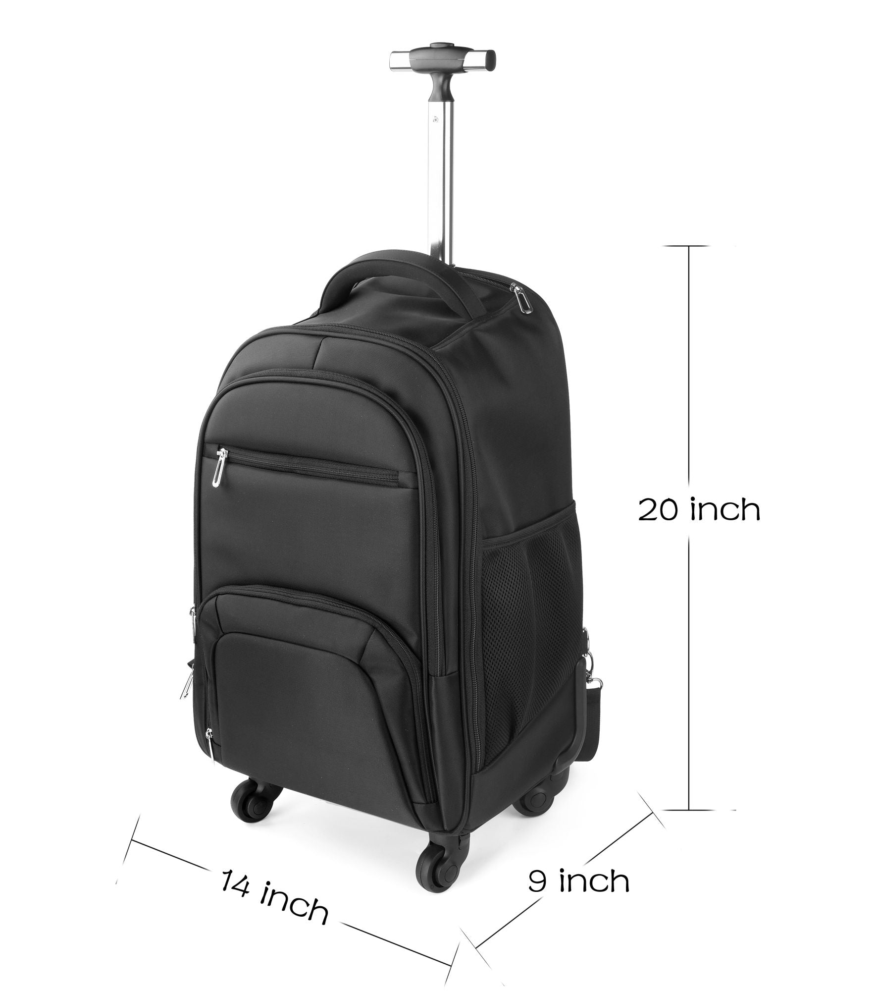 Business Travel Nylon Waterproof Rolling Backpack