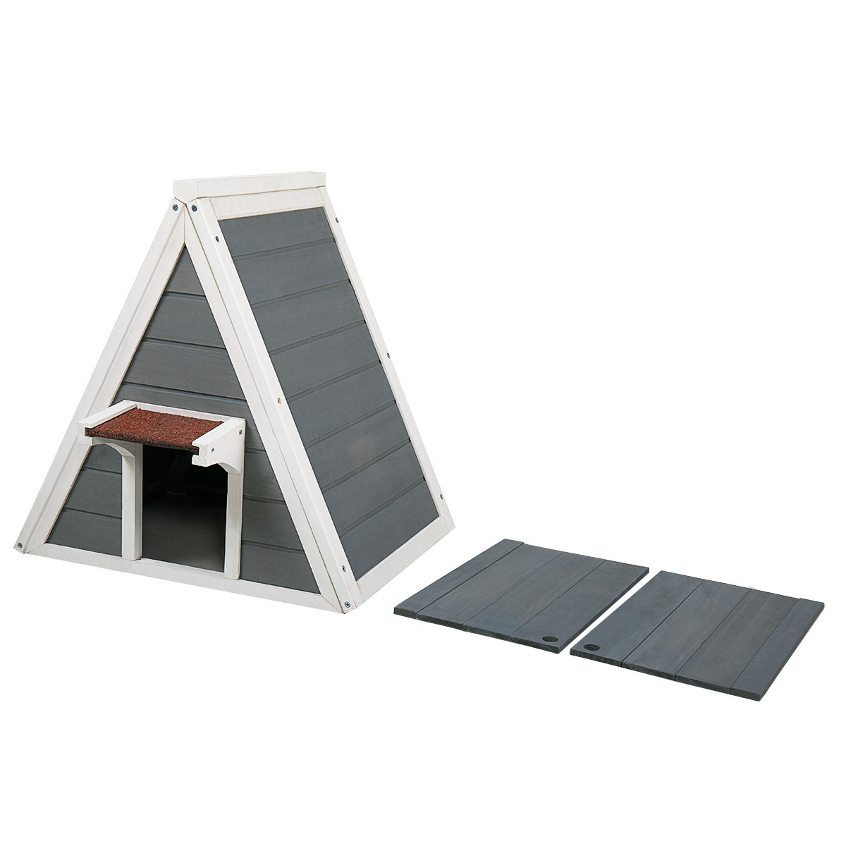 Triangle Cat House with Escape Door for All Cats