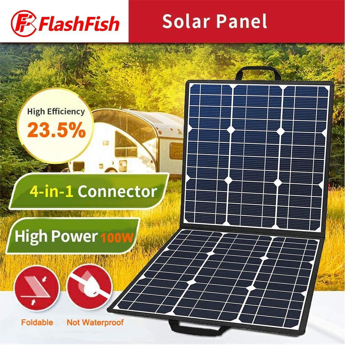 100W 18V Portable Solar Panel, Flashfish Foldable Solar Charger with 5V USB 18V DC Output Compatible with Portable Generator, Smartphones, Tablets and More