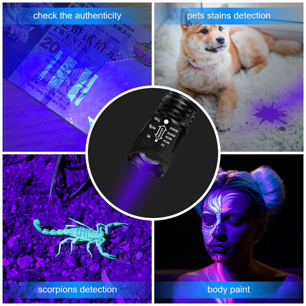 Free shipping 3 Modes Torch UV Ultra Violet LED Flashlight waterproof  Blacklight 365nm Inspection Lamp US
