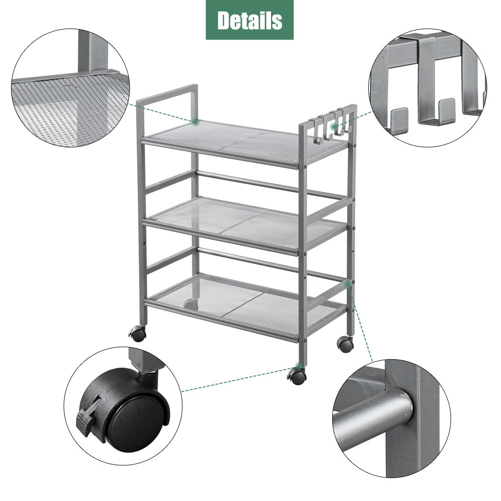Hodely 3-Shelf Mesh Iron Shelving Unit with Casters for Home Kitchen Office Gray RT