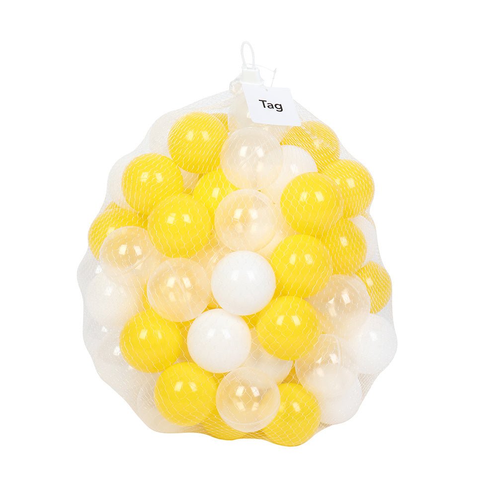 100pcs 7cm Fun Soft Plastic Ocean Ball Swim Pit Toys Baby Kids Toys (Yellow white Transparent) YF