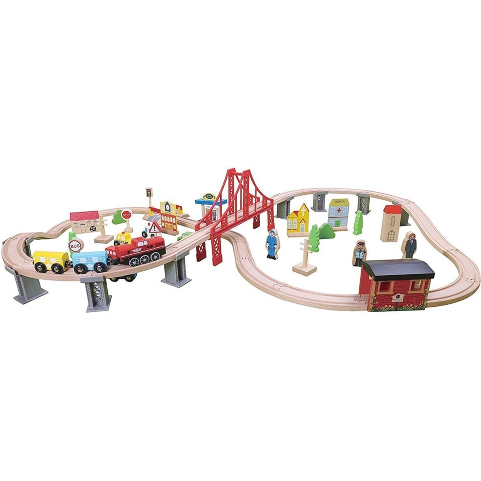 70pcs Wooden Train Set Learning Toy Kids Children Fun Road Crossing Track Railway Play Multicolor YF