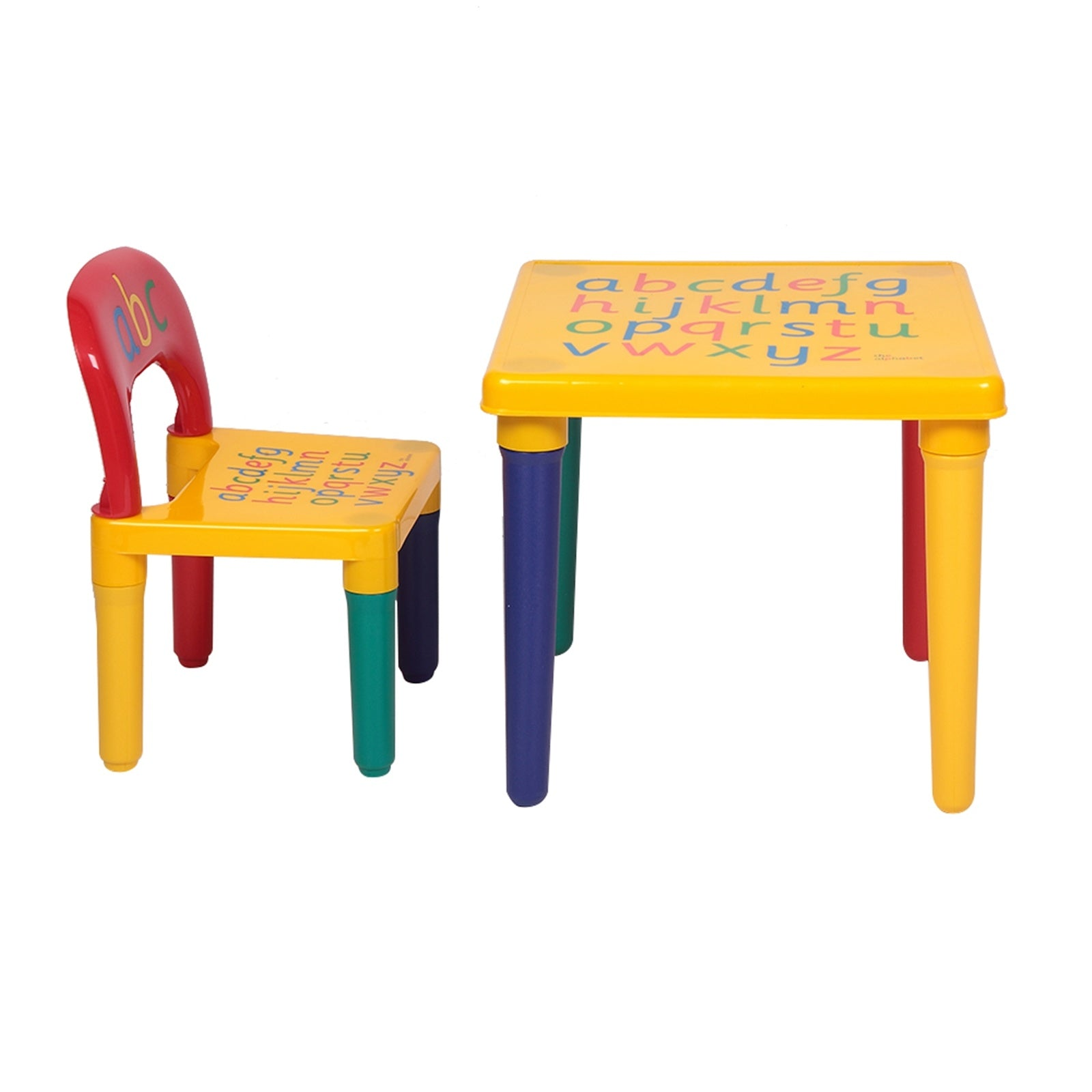 Kids Alphabet Table and Chair Set, Plastic Activity Furniture for Toddler, Study Play Arts Dining Patio Desk for Baby Girls/Boys (Age 3 and Up) RT