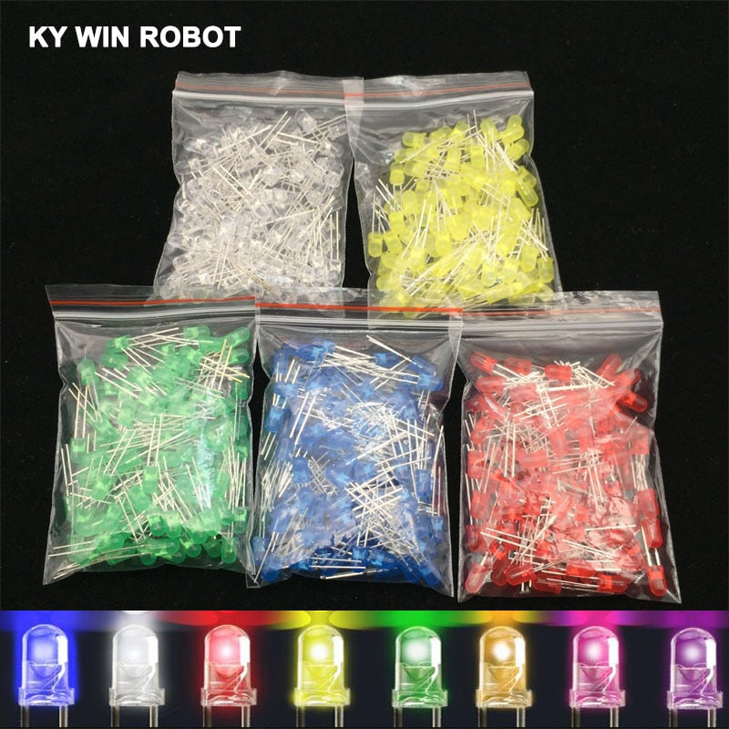 100pcs 5mm LED Diode 5 mm Assorted Kit White Green Red Blue Yellow Orange Pink Purple Warm white DIY Light Emitting Diode
