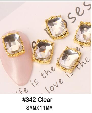 PABN 10pcs 3D Nail Crystals Rhinestone AB Charms Square Nail Gems Nail Art Decoration Manicure Accessories Nail Shiny Jewelry S#