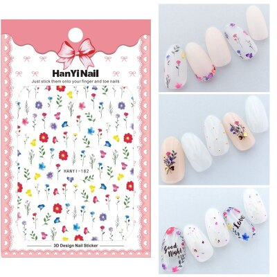 Flower 3D Nail Sticker Transparent Moon DIY Sticker Decals Tips Manicure Charm Design Adhesive Tips Art For Nail