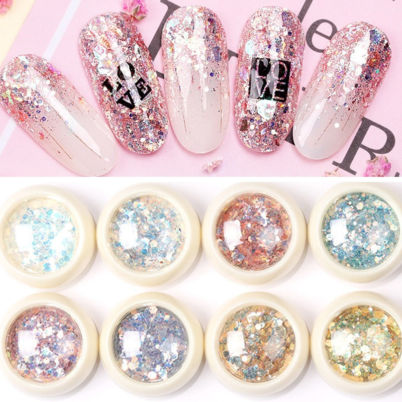 8Pcs/Set Mermaid 3D Glitter Nail Flakes Hexagon Colorful Sequins  UV Gel Polish Sparkling Powder Dust DIY Charm Glitter Flakes