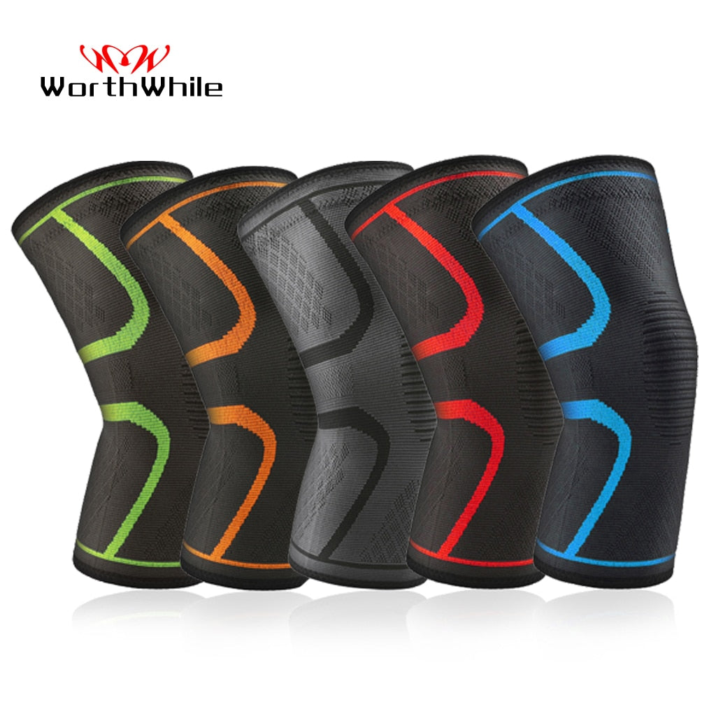 WorthWhile 1 Pair Elastic Nylon Knee Pads Fitness Protective Gear Sports Kneepad Patella Brace Support for Basketball Volleyball