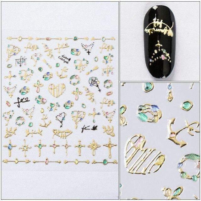 MEET ACROSS 12 Styles Charm 3D Colorful Nail Sticker Jewelry Design For Nails Sliders Tips Manicure DIY Decoration