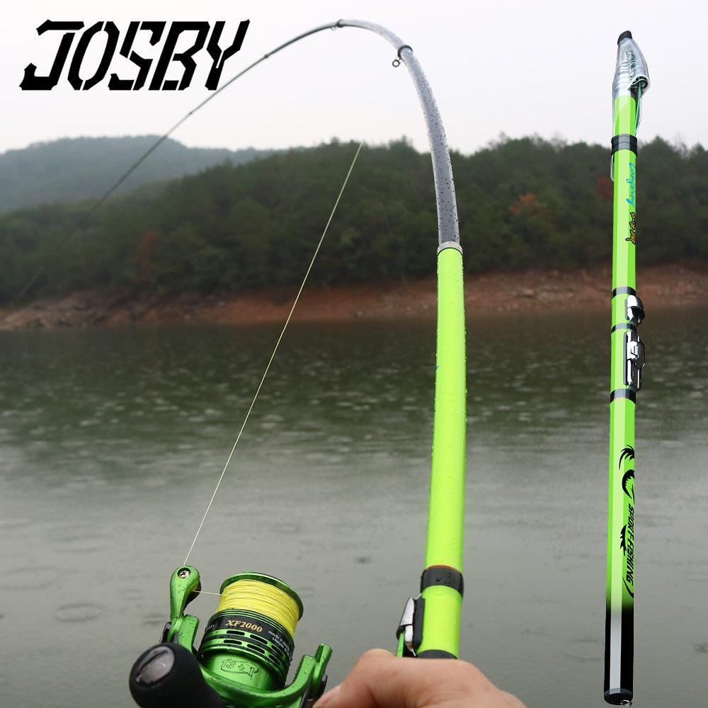 JOSBY Carbon Fiber Rock Fishing Rod Telescopic feeder pole Spinning Carp Portable travel ultralight 3.6M 4.5M 5.4M 6.3M 2020 NEW