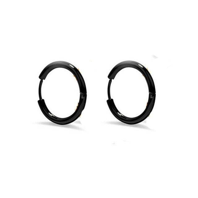 1 pair Punk Black Multiple Styles Stainless/Titanium Steel Stud Earrings For Men and Women Gothic Street Pop Hip Hop Ear Jewelry