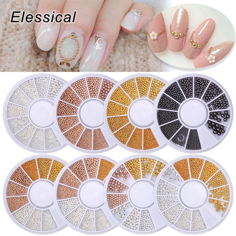 3D Metal Nail Art Charm Stainless Steel Caviar Beads Nail Decoration Gold Silver Rose Gold Black Bead Nail Stud Manicure DIY