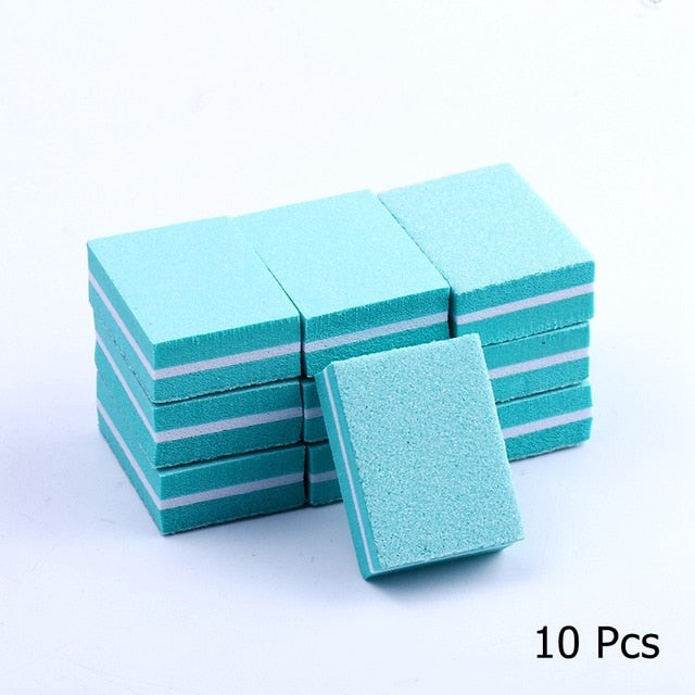 10/25/50pcs lot Double-sided Mini Nail File Blocks Colorful Sponge Nail Polish Sanding Buffer Strips Polishing Manicure Tools