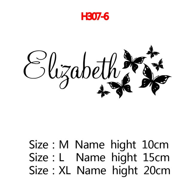 Personalized Custom Name Butterfly Wall Sticker Wallpaper For Nursery Kids Room Decoration Vinyl Stickers Bedroom Decals