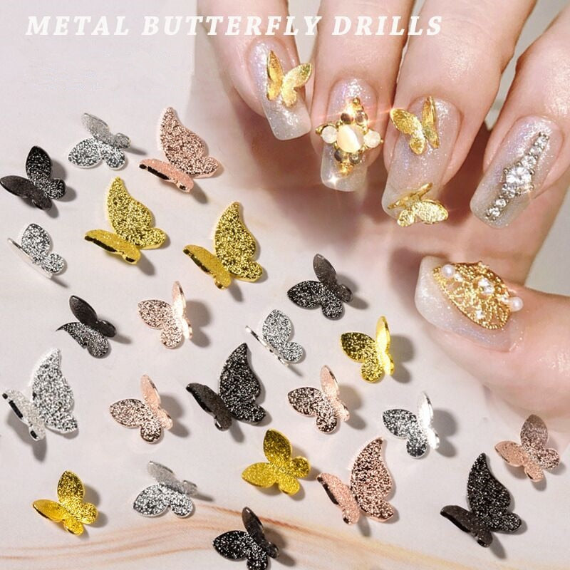 50 Pcs Metal Alloy Butterfly Design 3D Nail Art Decorations Charm Pixie Jewelry Gem Japanese Style Manicure Design Accessories