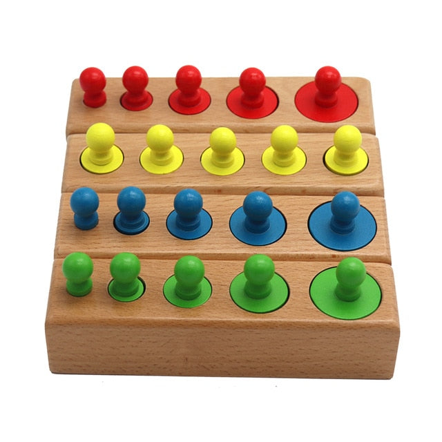 Montessori Cylinder Socket Puzzles Toy Baby Development Practice And SensesPreschool Educational Wooden Toys For Children
