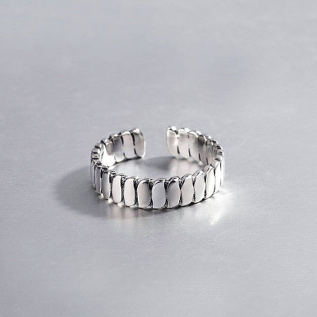 High Quality Fashion 925 Sterling Silver Geometric Layer Smile Face Adjustable  Rings For Women Wholesale Jewelry