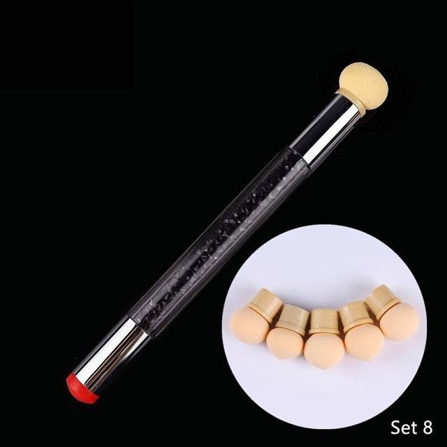 1 Pc Double-ended Gradient Shading Pen Dotting Brush Sponge Head Rhinestone Handle Nail Art Brush Nail Art Painting Tool