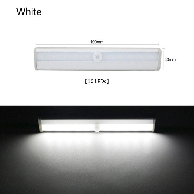PIR Motion Sensor LED Under Cabinet Light Auto On/Off 6/10 LEDs 98/190mm For Kitchen Bedroom Closet Wardrobe Night Lights