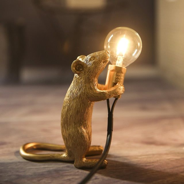 SELETTI Modern Resin Mouse Table Lamp LED E12 mouse Table Lamps Desk Nordic Kids' Room Decor LED Night Lights EU/AU/US/UK Plug