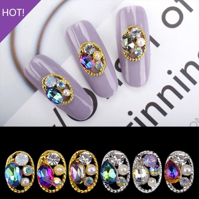 10PCS Hollow Oval Rhinestones Pearl Charms Beauty Glitter Nails Charms Jewelry Accessories Metal for 3D Nail Art Decoration Hot