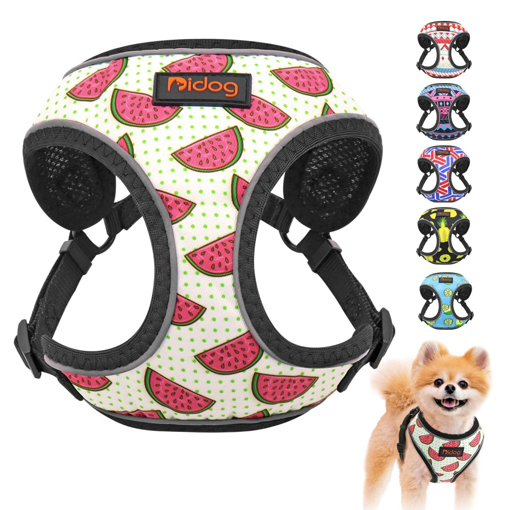Nylon Reflective Dog Cat Harness Vest Printed French Bulldog Harness Puppy Small Medium Dogs Cats Harness For Chihuahua Walking