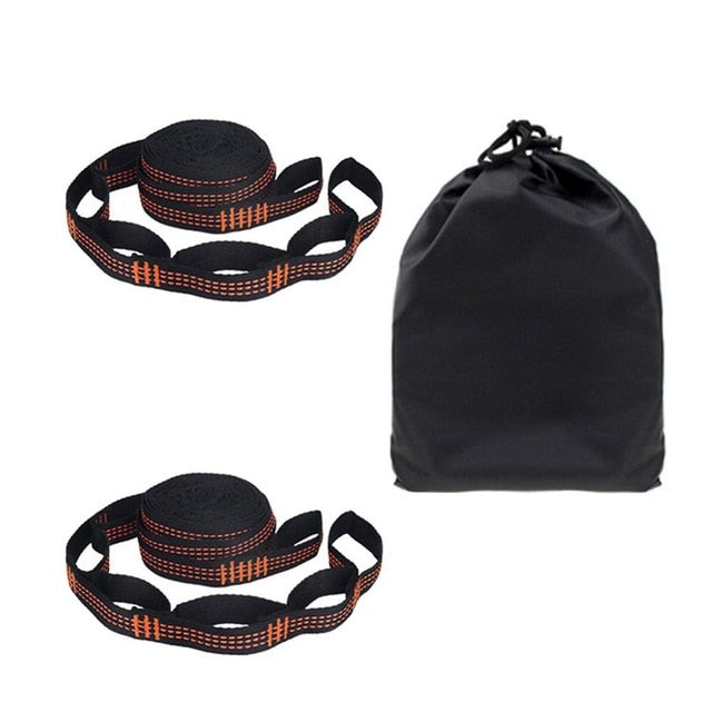 2 Pcs/Set Hammock Straps Special Reinforced Polyester Straps 5 Ring High Load-Bearing Barbed Black Outdoor Hammock straps