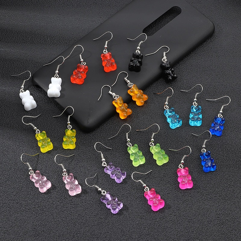 originality statement minimalist dangle earring jelly Polychromatic Bear drop earrings fashion minimalist stud earings for women