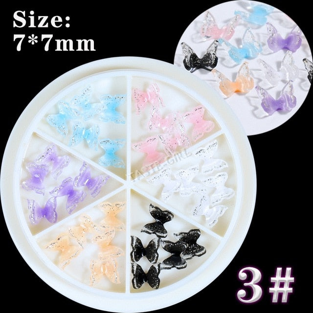 30 PCS/Wheel 3D Colorful Butterfly Charm Nail Art Rhinestones Decoration Pixie Ornaments DIY Manicure AB